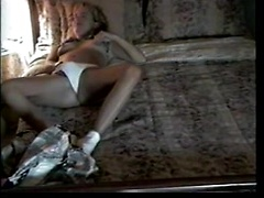 Amateur hot wife in white panties masturbating on hidden camera