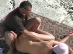 Mind-blowing beach spy with amateurs explicitly fucking in public place