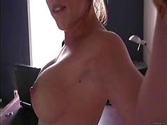 Nasty amateur girl hard masturbating on hidden camera in office