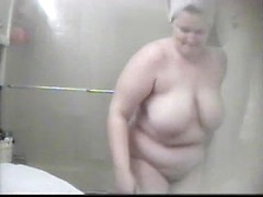 Busty mature slut after shower on spying camera in bathroom