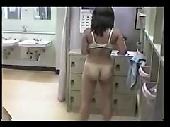 Amateur naked slut watched with spy hidden cam in public bathroom